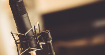 Professional Tube Microphone in the Recording Studio. Microphone Closeup.