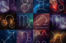 Zodiac signs. White thin simple line astrological symbols on blurry colorful abstract background. Aries, Taurus, Gemini, Cancer, Leo, Virgo, Libra, Scorpio, Sagittarius, Capricorn, Aquarius, Pisces.