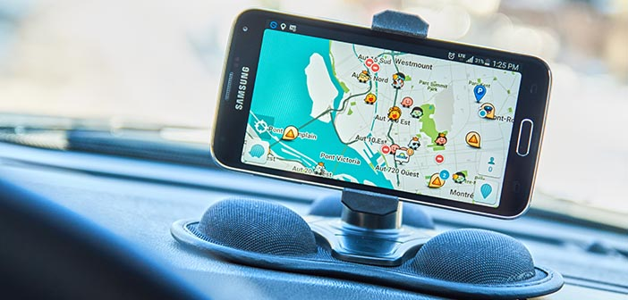 MONTREAL CANADA - FEBRUARY 2016 - GPS application Waze running on Samsung S5 in a car. Waze is one of the most popular GPS applications.